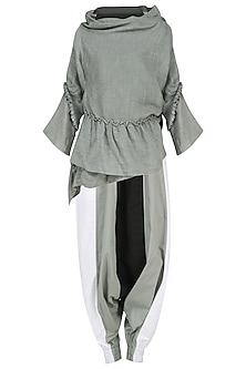 Grey Pleated Wrap Top with Coloblocked Harem Pants by Ritesh Kumar