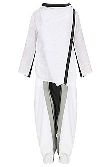 White Wrap Top with Coloblocked Harem Pants by Ritesh Kumar