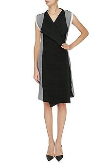 Black Pintucked Wrap Dress by Ritesh Kumar