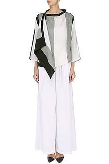 White Colorblocked Wrap Jacket with Palazzo Pants Set by Ritesh Kumar