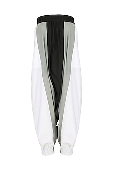 White Colorblocked Harem Pants by Ritesh Kumar