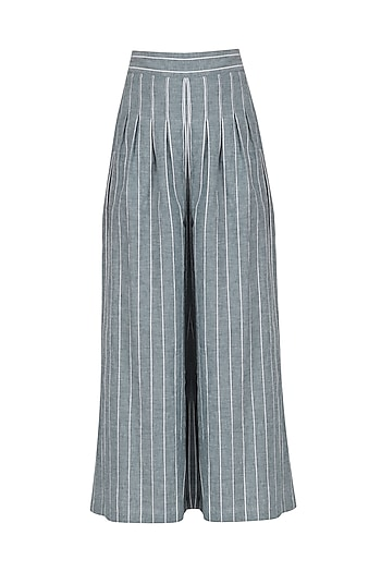 Blue and White Striped Palazzo Pants by Ritesh Kumar
