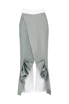 White and Grey Wrap Pants by Ritesh Kumar