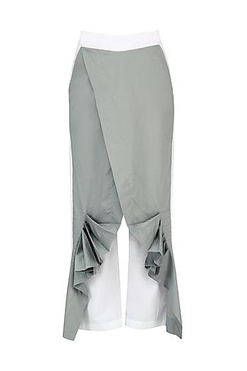 White and Grey Wrap Pants by Ritesh Kumar