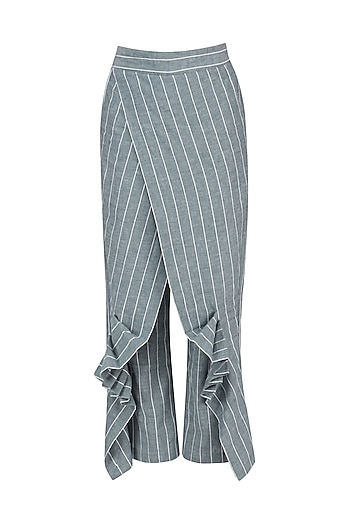 Blue and White Striped Wrap Pants by Ritesh Kumar