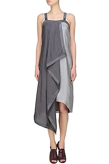 Steel grey and white colour block convertible dress by Ritesh Kumar