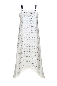 Cream thread tassel detailing textured pinafore dress by Ritesh Kumar