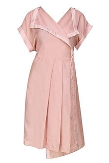 Blush pink pleated wrap dress by Ritesh Kumar