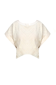 Cream khadi silk crop top by Ritesh Kumar