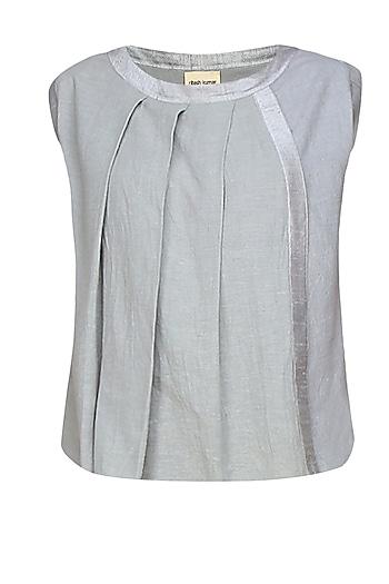 Silver pleated panel sleeveless top by Ritesh Kumar