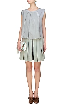 Silver pleated panel sleeveless top by Ritesh Kumar