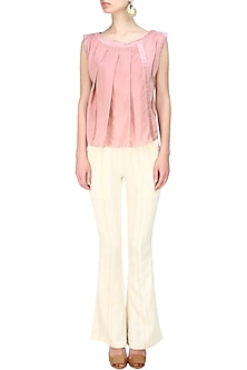 Blush pleated panel sleevless top by Ritesh Kumar
