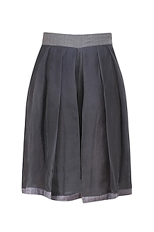 Steel grey pleated silk shorts by Ritesh Kumar