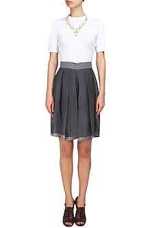 Steel grey pleated silk shorts by Ritesh Kumar
