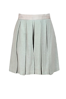 Silver pleated silk shorts by Ritesh Kumar