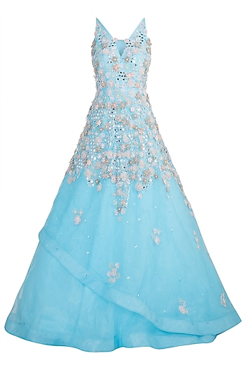 Blue embroidered gown by Riddhi Majithia