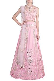 Pink embroidered lehenga set by Riddhi Majithia