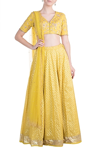 Yellow Embroidered Chanderi Lehenga Set by Rishita and Mitali