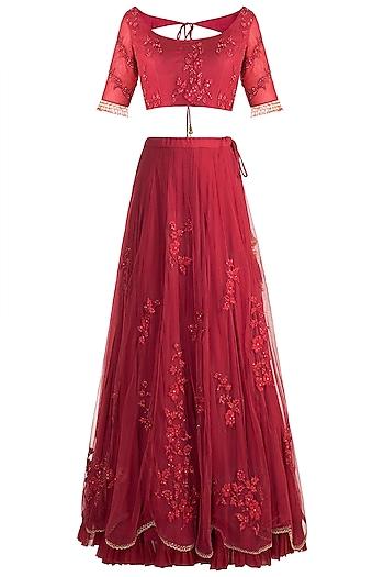 Red Embroidered Lehenga Set by Rishita and Mitali