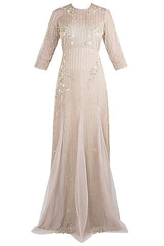 Chocolate grey embroidered gown by Rishita And Mitali