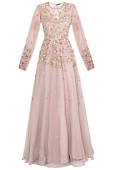 Mauve embroidered gown by Rishita And Mitali