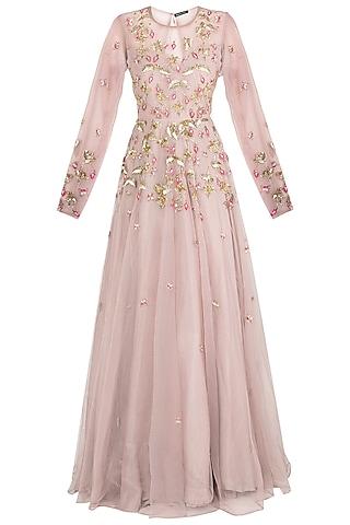 Mauve embroidered gown by Rishita And Mitali