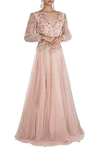 Peach embroidered gown by Rishita And Mitali