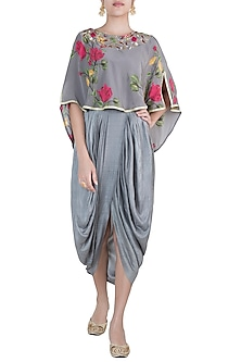 Ash grey embroidered printed cape with overlap maxi dress by Riraan By Rikita & Ratna