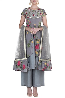 Ash grey embroidered printed anarkali set by Riraan By Rikita & Ratna
