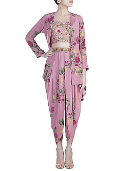 Rouge Pink Embroidered Bustier With Printed Dhoti Pants & Jacket by Riraan By Rikita & Ratna