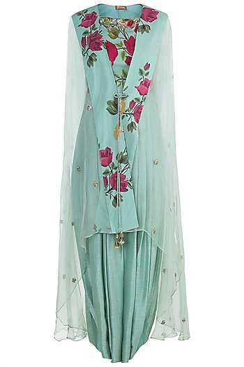 Peppermint Green Embroidered Printed Jumpsuit With Jacket by Riraan By Rikita & Ratna