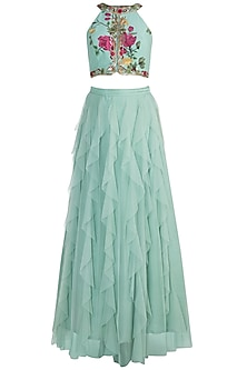 Peppermint Green Embroidered Printed Blouse With Skirt by Riraan By Rikita & Ratna