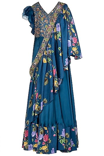 Blue Printed and Embroidered Anarkali Gown with sash Dupatta by Riraan By Rikita & Ratna