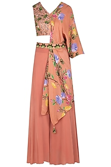Rust Embroidered and Printed Blouse with Palazzo Pants and Belt by Riraan By Rikita & Ratna