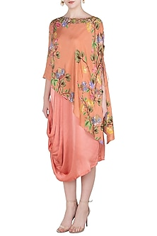 Rust Embroidered and Printed Cape with Pleated Cowl Tunic by Riraan By Rikita & Ratna