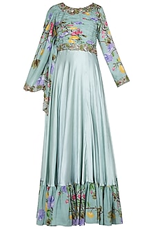Green Printed and Embroidered Cape Anarkali Gown by Riraan By Rikita & Ratna