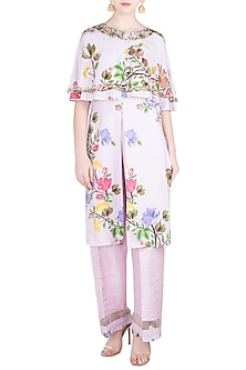 Lavender Printed and Embroidered Cape with High Slit Tunic and Pants by Riraan By Rikita & Ratna
