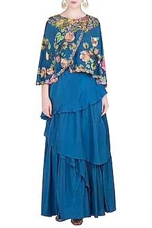 Blue Printed and Embroidered Cape Blouse with Layered Lehenga Skirt by Riraan By Rikita & Ratna