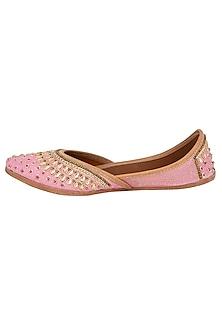 Baby Pink Sequins Embellished Juttis by RISA