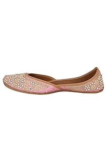 White & Baby Pink Sequins & Pearl Embellished Juttis by RISA