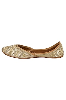 Whitish Golden Sequins & Pearl Embellished Juttis by RISA