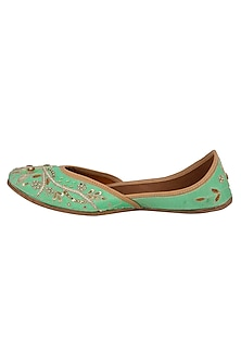 Turquoise Sequins Embellished Juttis by RISA