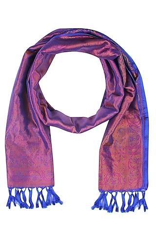 Royal Blue Floral Print Banarasi Handwoven Tihra Meena Stole by Harita