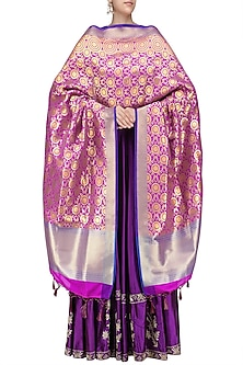Pink and Gold Banarasi Paudi Silk Dupatta by Harita