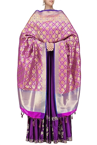 Pink and Gold Banarasi Paudi Silk Dupatta by Harita