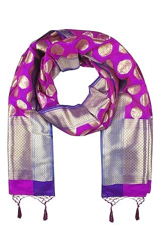 Magenta and Gold Banarasi Paudi Silk Dupatta by Harita