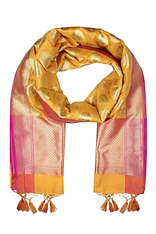 Bright Yellow and Gold Woven Banarasi Paudi Silk Dupatta by Harita