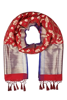 Bright Red and Gold Woven Banarasi Paudi Silk Dupatta by Harita