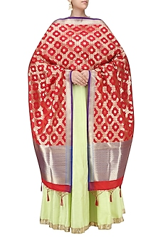 Bright Red and Gold Woven Banarasi Paudi Silk Dupatta by Harita