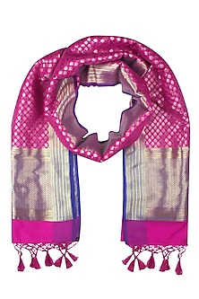 Pink and Gold Motifs Banarasi Paudi Silk Dupatta by Harita